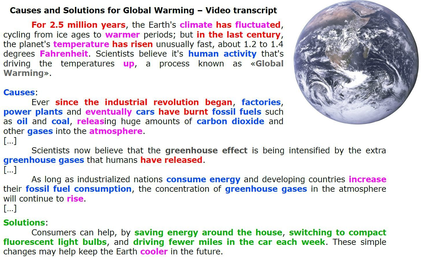 consequences of global warming caused by industrialization Global warming, the gradual heating of earth's surface, oceans and atmosphere, is caused by human activity, primarily the burning of fossil fuels that pump carbon dioxide (co2), methane and other greenhouse gases into the atmosphere.